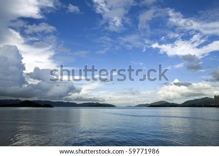 Coastal landscape in Hong Kong - stock photo