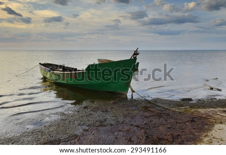 Coastal landscape near village of fishermen, Baltic Sea - stock photo