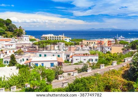 Coastal landscape of Lacco Ameno resort town. Ischia island, Italy. Mediterranean Sea coast - stock photo