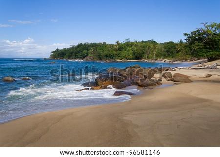 Coastal landscape of the Antongil Bay, east of Madagascar - stock photo