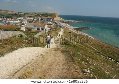 coastal path to West Bay, Dorset - stock photo