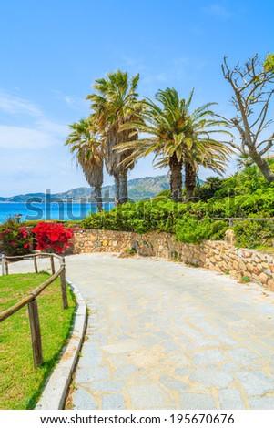 Coastal promenade along Campolungo beach near Porto Giunco port, Sardinia island, Italy - stock photo