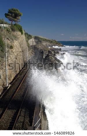 Coastal railway track - stock photo