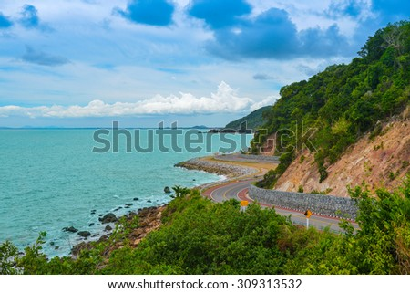 Coastal road at thailand - stock photo