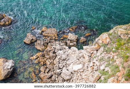 Coastal rocks. Bulgaria, Black Sea Coast, Kaliakra headland - stock photo