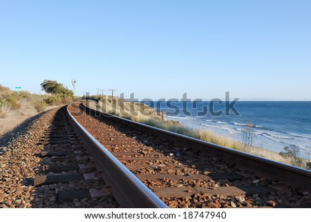 Coastal Train Tracks - stock photo