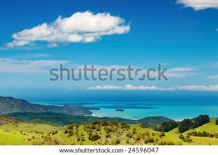 Coastal view, Abel Tasman National Park, New Zealand - stock photo