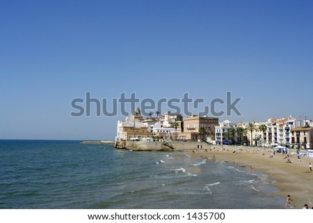 coastal view and the church in the catalonian town of sitges, near barcelona