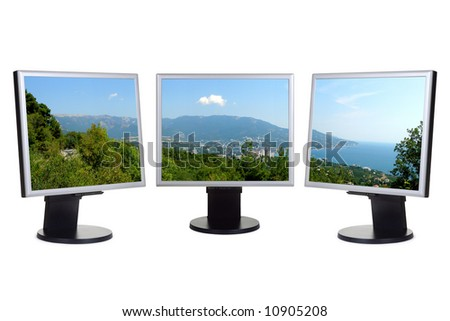 Coastal view (my panorama) on computer screens, isolated on white background