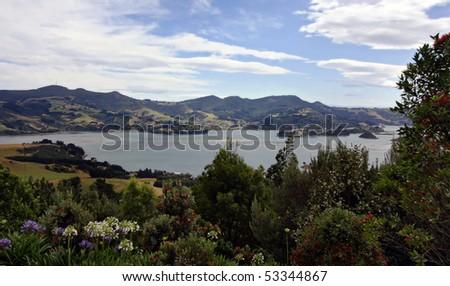 Coastal view of Dunedin Pennisula in New Zealand - stock photo