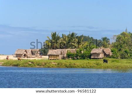 Coastal village of Antongil Bay, east of Madagascar - stock photo