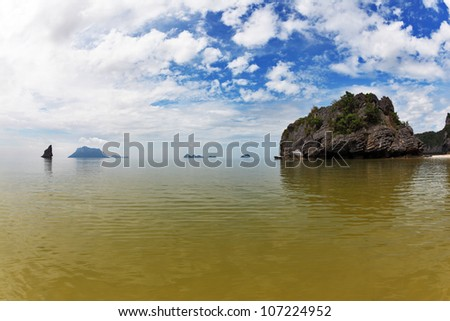Coastal waters of the Thai gulf. Morning after a storm. Set of picturesque small islands - stock photo