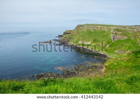 Coastland of Ireland, Wild Atlantic Way at Cliffs at Giants Causway - stock photo