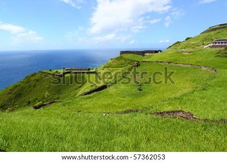Coastline at Brimstone Hill Fortress - Saint Kitts - stock photo