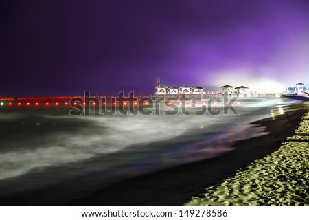 Coastline in the night. Long exposure.