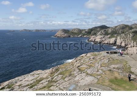 Coastline near Lindesnes lighthouse (South Cape, Vest-Agder, Norway) - stock photo