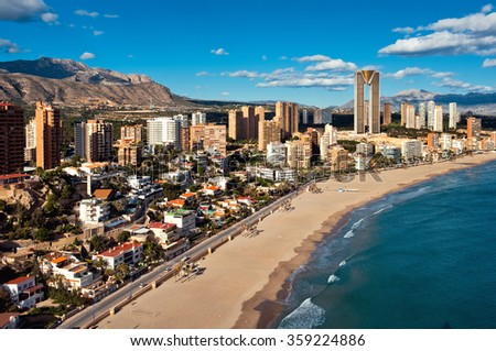 Coastline of a Benidorm city. Benidorm is a modern resort city, one of the most popular travel destinations in Spain. Costa Blanca, Alicante - stock photo