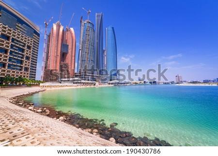 Coastline of Abu Dhabi, the capital of United Arab Emirates - stock photo
