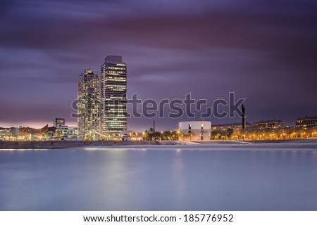 Coastline of Barcelona at evening, Spain
