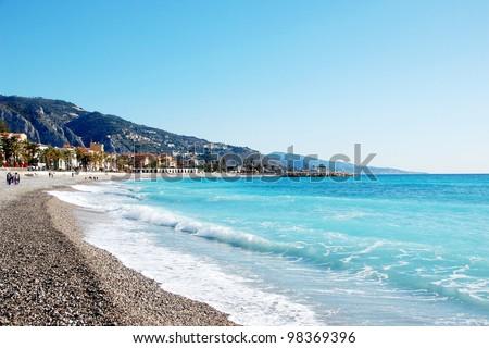 Coastline of village Menton - French Riviera - France - stock photo