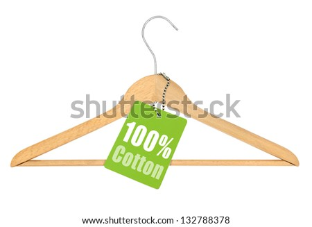 coat hanger with hundred percent cotton tag isolated on white background