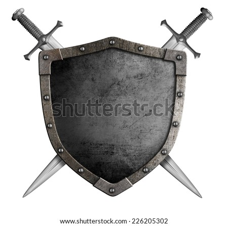 coat of arms medieval knight shield and sword isolated on white - stock photo