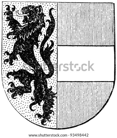"""Coat of arms of Salzburg state, (Austro-Hungarian Monarchy). Publication of the book """"Meyers Konversations-Lexikon"""", Volume 7, Leipzig, Germany, 1910 - stock photo"""