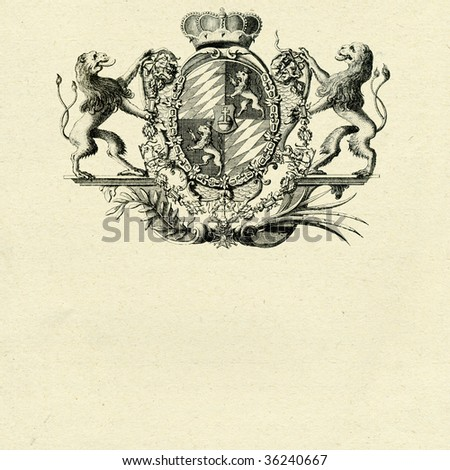 coat of arms with lions on old paper background - stock photo