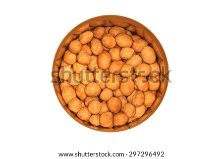 coated peanut in can top view - stock photo