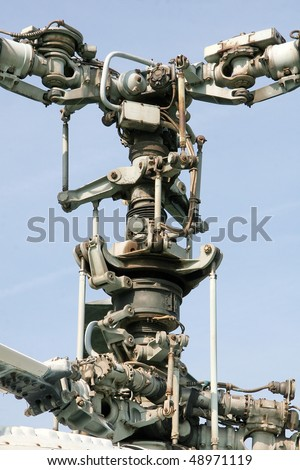 Coaxial dual rotor of helicopter - stock photo