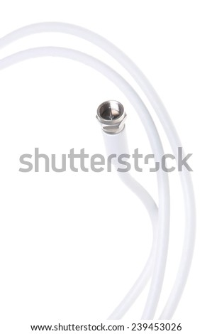 Coaxial tv cable with F connector - stock photo
