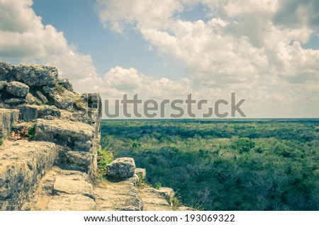 Coba pyramid,Mexico - vintage style - stock photo
