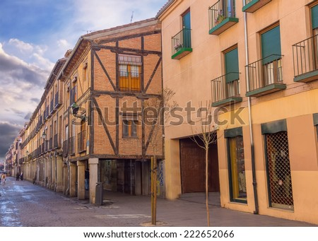Cobbled streets of the old town of Alcala de Henares, Spain - stock photo