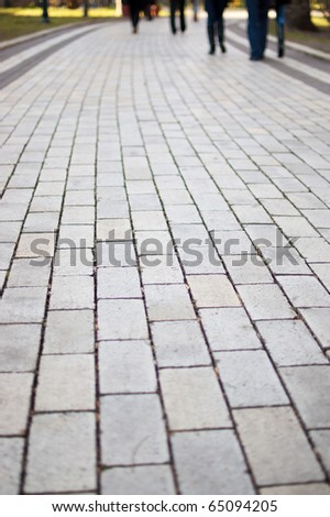 cobblestone road in the park - stock photo