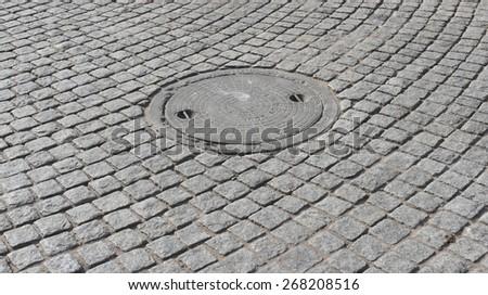 cobblestone street from Gurgaon, India - stock photo