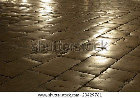 Cobblestone with reflection - stock photo