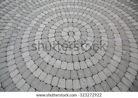 Cobblestones in a pavement walkway