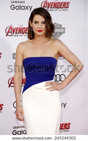Cobie Smulders at the World premiere of Marvel's 'Avengers: Age Of Ultron' held at the Dolby Theatre in Hollywood, USA on April 13, 2015.  - stock photo