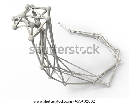 cobra polygonal structure and wire frame lattice mesh.  3d render illustration