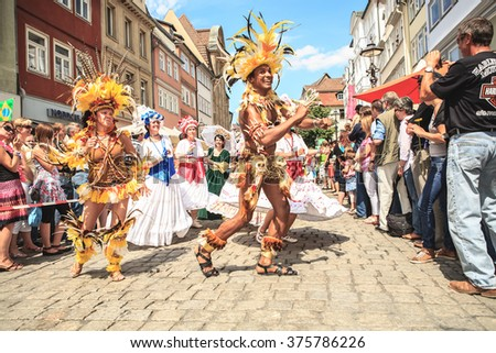 COBURG, GERMANY - JULY 10, 2011: An unidentified female samba dancer participates at the annual samba festival in Coburg, Germany on July 10, 2011. - stock photo