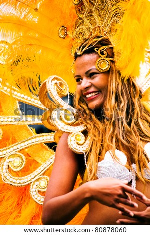 COBURG, GERMANY - JULY 13: An unidentified female samba dancer participates at the annual samba festival in Coburg, Germany on July 13, 2008. - stock photo