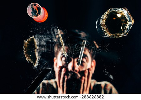 Cocaine addicted ready to snort  - stock photo