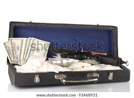 Cocaine and marijuana with gun in a suitcase isolated on white - stock photo