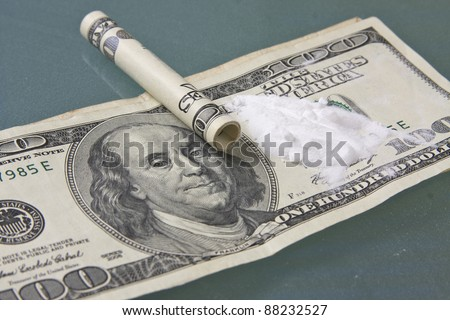 cocaine on dollar bills - stock photo