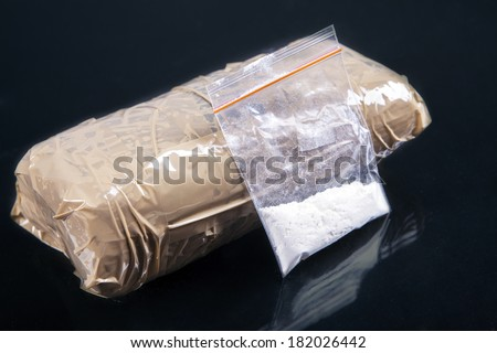 Cocaine powder in plastic bag with a packages