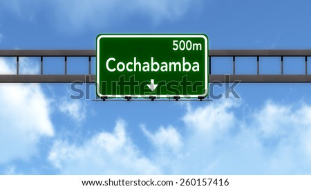 Cochabamba Bolivia Highway Road Sign - stock photo