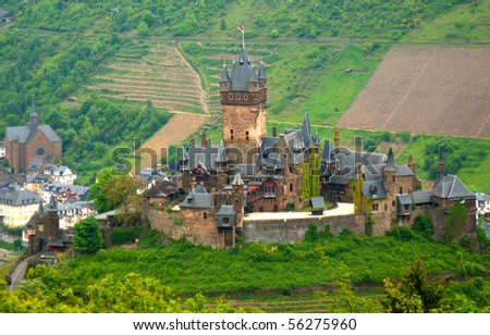 Cochem city panorama. View at Reichsburg Castle. - stock photo
