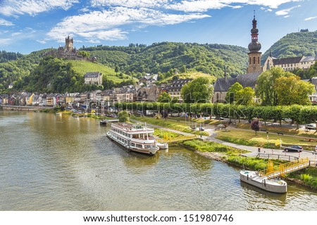 Cochen Castle, Germany and Mosel river - stock photo