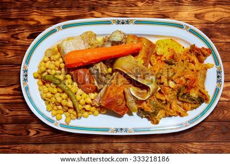 Cocido Maragato recipe of Biezo Leon in Spain pilgrims delice in Saint James Way - stock photo