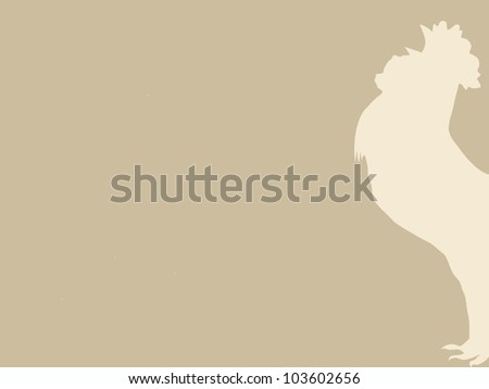 cock silhouette on brown background - stock photo